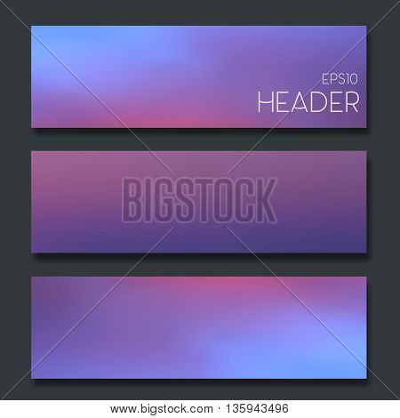 Set of blurred headers. Webdesign. Vector banner