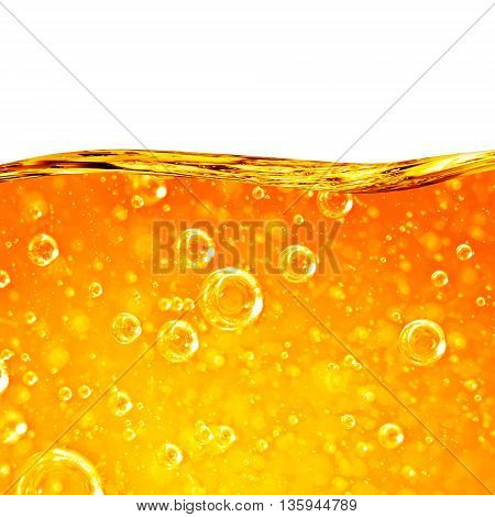 Liquid flows orange wave for the project oil honey beer juice or other variants area for text on white background