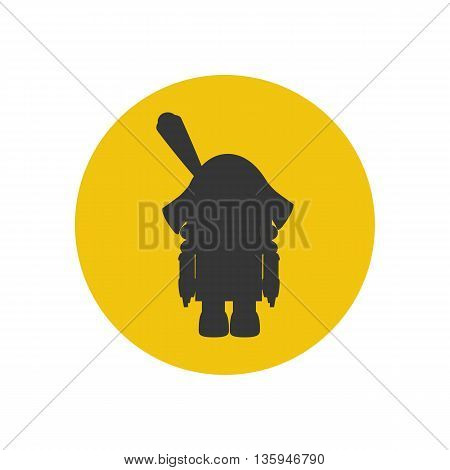 The nutcracker silhouette icon on the yellow background. Vector illustration