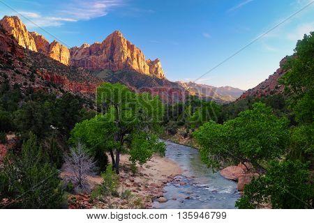 Sunset Illuminates The Watchman and Virgin River Zion National Park, Utah, USA