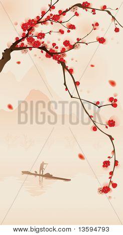 orientalisk stil målning, plum blossom på våren