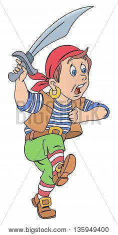 Illustration of cute pirate boy with cutlass