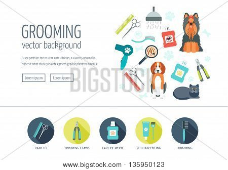 Grooming web design concept for website and landing page. Web banner. Flat design. Vector illustration