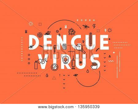 Design concept virus of dengue. Modern line style illustration. Concepts of words dengue virus, style thin line art, design banners for website and mobile website. Easy to edit.