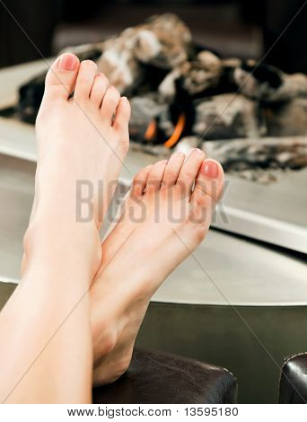 Female Feet Fireplace