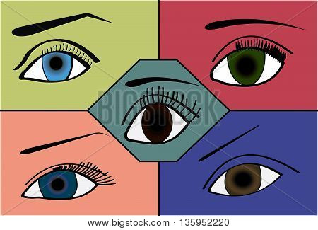 Illustration of a different eye shapes and colors.