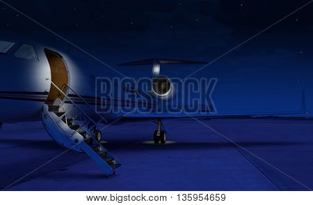 Private jet sitting at the tarmac at night