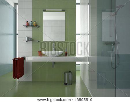 modern green bathroom