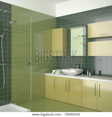 modern green bathroom with yellow furniture