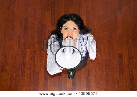 Top View Of Business Woman With Megaphone