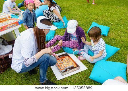 MOSCOW - JUNE 4: Children having fun on International Jazz Festival