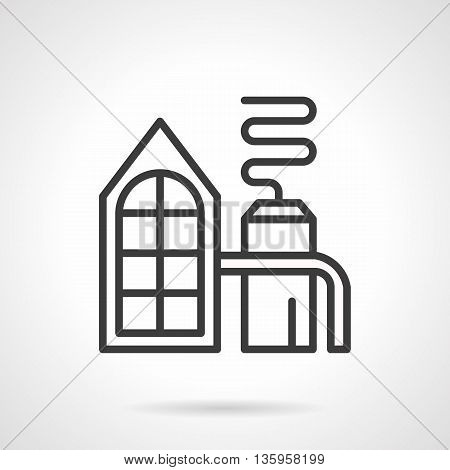 Distilling plant facility. Distillation process on an industrial scale. Industry buildings and objects, environment pollution problems. Simple black line style icon.