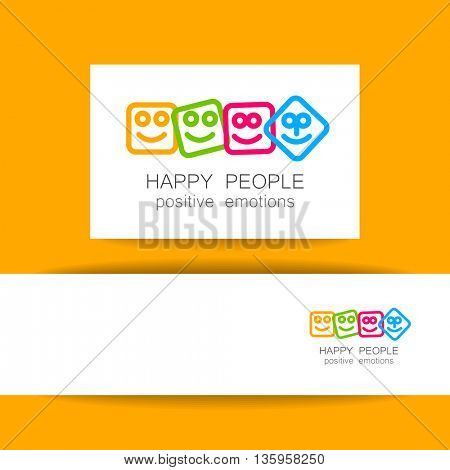 Happy people logo template. Concept identity presentation design for company. Positive emotions, happy games, entertainment sphere, unity emblem, happy people team, society fund and etc. Vector.