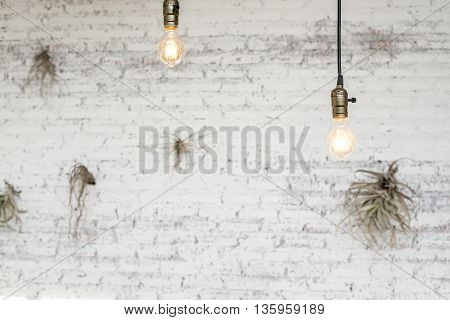Beautiful White brick wall and ceiling lamp