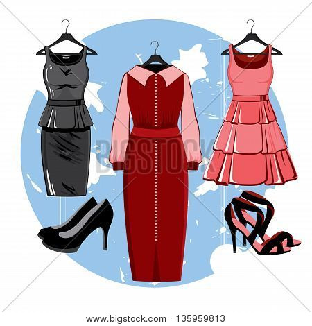 The composition of different styles of colored summer dresses. Silhouette of dresses made in modern flat vector style. Fashion vector illustration. Cocktail dress, classical dress, leather dress