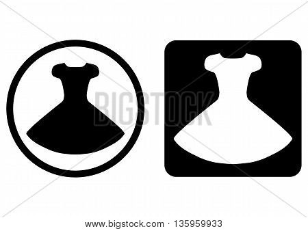 Set button icon dress. Round and rounded square. Silhouette of the gown. Black white. Isolated image. Black and transparent background icon. Silhouette of the gown.
