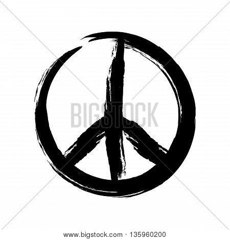 Sign pacifist peace symbol drawn by hand with a brush. Black Hippie sign on a white background. Isolated.