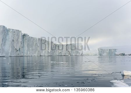 Icebergs are on the north pole, arctic ocean, Ilulissat town at Greenland