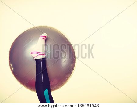 Girl Foot With Fit Ball.