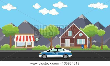 police patrol on city with car on the way public house or home vector graphic illustration