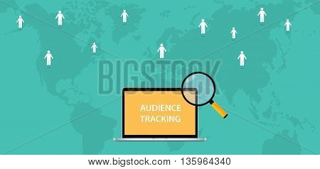 audience tracking concept with computer text magnifying glass and world map track sign vector graphic illustration