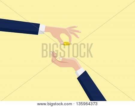 take and gift text quotes hand give gold money coin to other vector graphic illustration