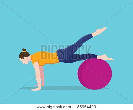 exercise ball plank position names vector graphic illustration