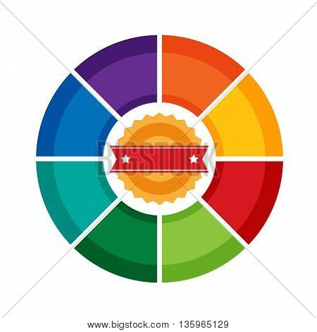 Vector Eight sides infographic pie diagram template. Wheel multicolor chart for web, banners, reports, presentation and brochures. Place for text insight