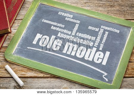 role model qualities word cloud - white chalk text on a slate blackboard with books