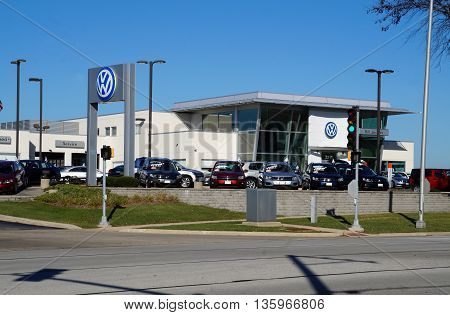 NAPERVILLE, ILLINOIS / UNITED STATES - NOVEMBER 3, 2015: One may purchase a Volkswagon vehicle at the Bill Jacobs Volkswagon dealership in Naperville.