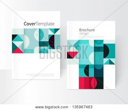 Vector book cover design creative concept  catalogue, report, brochure. Black, Red and green abstract geometric shapes. Squares, triangles and circles vector-stock EPS 10. a4 size