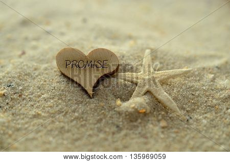 Depth of field promise text carved/engraved in heart shape piece of wood on sand beach with starfish