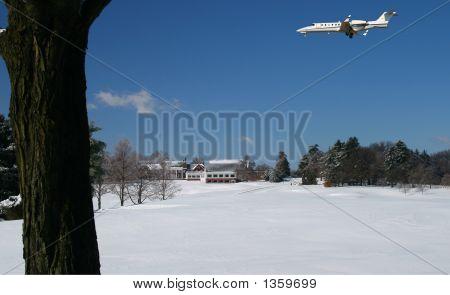 Learjet In Beautiful Winter Scenery