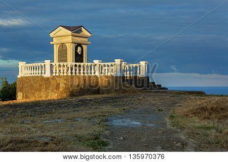 Sevastopol, Russia - June 09, 2016: Monument to Alexander Pushkin at Cape Fiolent. Heraclean peninsula on the southwest coast of Crimea. Balaclava district of Sevastopol.