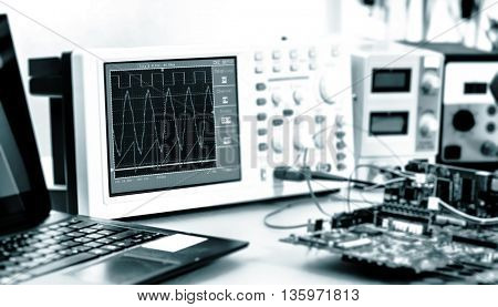 Laboratory of research microelectronics. Blue colored image