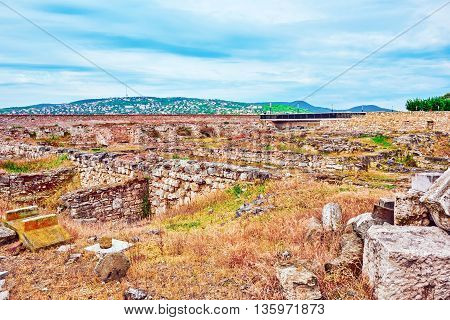 Real Ruins Of The Royal Palace Of Sigismund Times.budapest. Hungary.