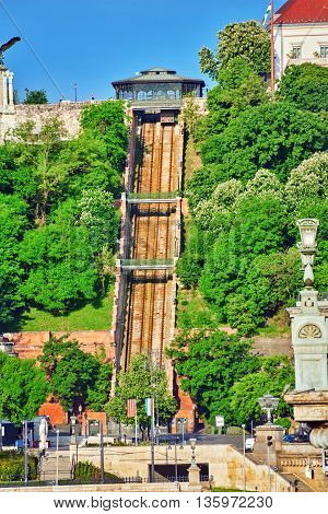 Funicular To Lift Up The Mountain On Which Stands The Royal Palace Of Hungarian Kings. Hungary.
