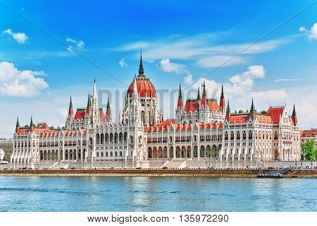 Hungarian Parliament At Daytime. Budapest. View From Danube Riverside.hungary