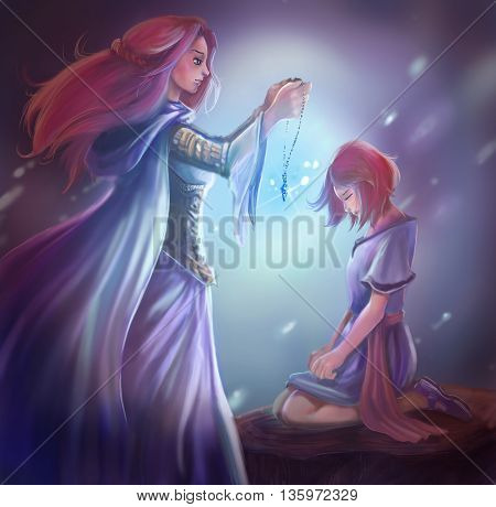 Cartoon fantasy illustration of a goddess queen is giving a crystal pendant to young princess in fantasy girl heroine medieval concept