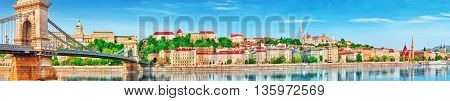 Panoramic View To One Of The Most Beautiful Cities In Europe- Budapest, Side Buda City. Budapest, Hu