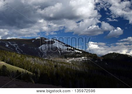 the snowy mountains under summer storm clouds