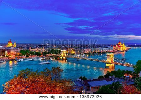Szechenyi Chain Bridge And Parliament At Dusk From Fisherman Bastion. Budapest, Hungary.