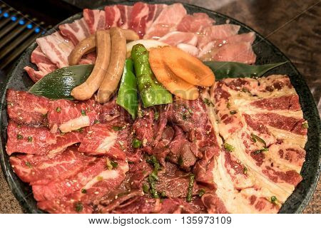 Vareity Set of beef and pork for grilled Yakiniku - Japanese Food