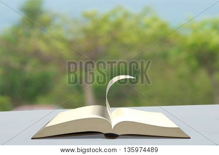 Book With Turning Page On Table Outdoor , 3D Rendering