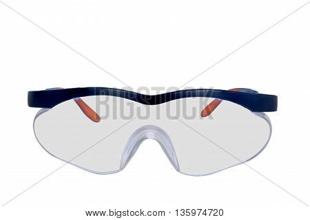 Plastic safety goggles isolated on white background
