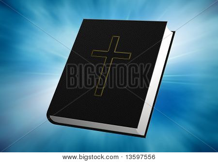 Bible On Blue Background