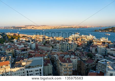 Aerial view of Istanbul Turkey. Modern transcontinental megalopolis cityscape at golden hour