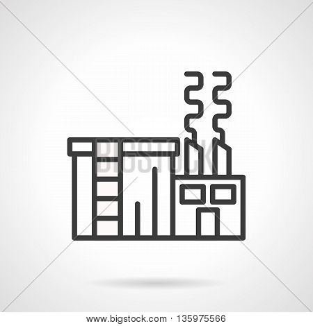 Abstract sign of plant or factory for sugar production. Sugar refinery. Branch of food industry. Industrial facilities. Simple black line style icon.