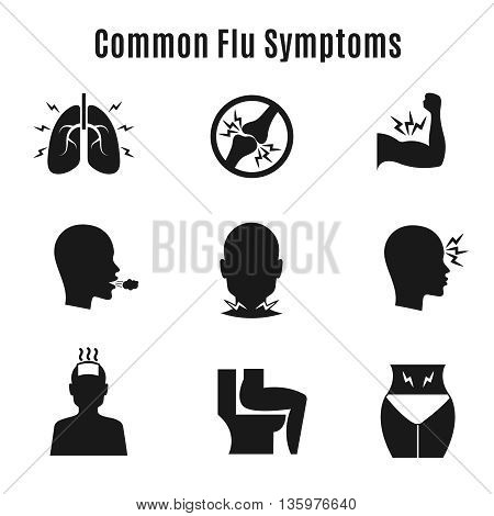 Flu influenza sickness symptoms vector icons. Influenza symptom collection and infection influenza and cough illustration