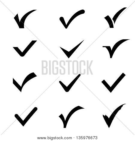 Confirm tick mark vector icons set. Sign ok and confirm, tick check mark confirm illustration